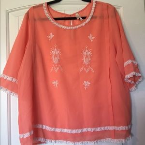 Tops - Peach blouse with lace details